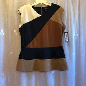 Color block professional sleeveless top
